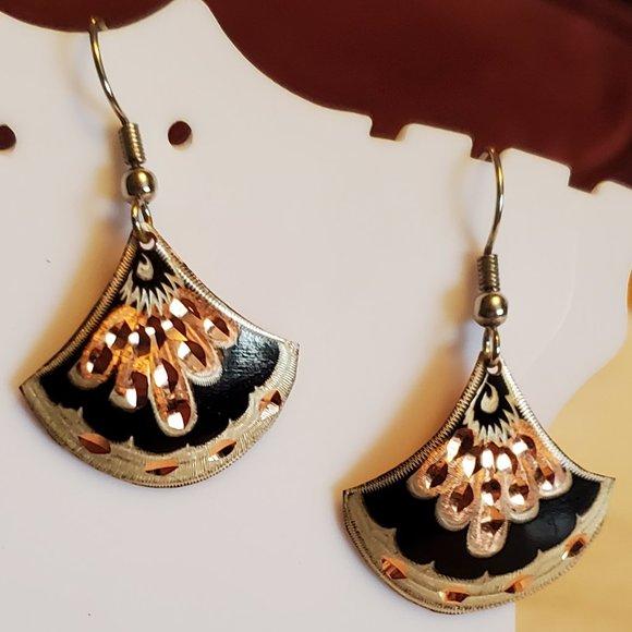 Copper Fan Style Dangle Hook Earrings Black Simple